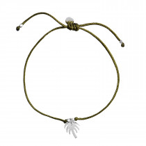 Petit Palm Bracelet Army Green Ribbon - Silver
