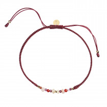 Candy Bracelet - Red Mix and Bordeaux Ribbon