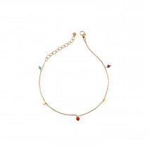 Petit Coin And Stones - Garnet, Green Agate and Red Coral - Bracelet