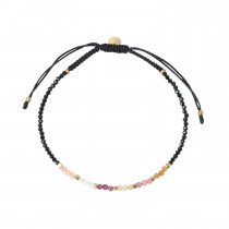 Berry Rainbow Mix with Black Spinel and Black Ribbon Bracelet