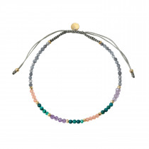 Emerald Rainbow Mix with Grey Jade and Kahkigrey Ribbon Bracelet