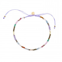 Rainbow Mix and Violet Ribbon Bracelet
