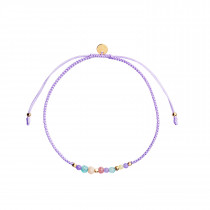 Candy Bracelet - Purple Mix and Violet Purple Ribbon