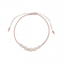Flower Pearl and Light Pink Ribbon Bracelet