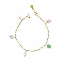 Candy Floss Bracelet - Gemstones and Pearl Gold
