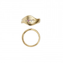 Ile De L'Amour Ring with Stones Gold