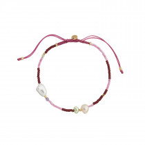 Deep Sea Bracelet - Bordeaux & Pink Stones and Cherry Pink Ribbon