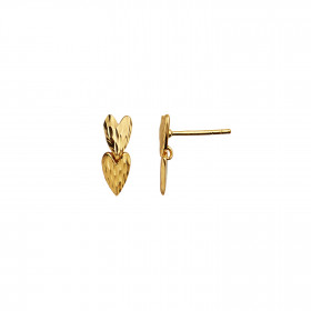 Two Love Hearts Earring - Gold
