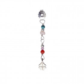 Petit Stones And Clover Behind Ear Earring Silver - Pink Opal/Red Coral