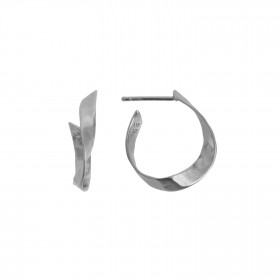 Twisted Hammered Creol Earring - Left Silver
