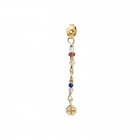Petit Stones And Clover Behind Ear Earring - Garnet/Lapis