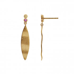 Dangling Leaf w/Two Candy Dots Earring Gold