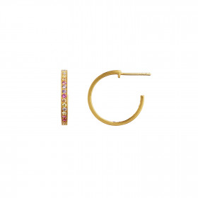 Candy Creol with Soft Pastel Stones Earring Gold