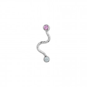 Big Wave Earring with Pastel Pink & Blue Stones Silver