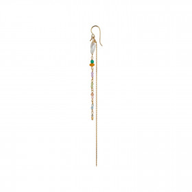 Petit Gemstones and Baroque Pearl Earring Gold with Long Chain - Sorbet Mix