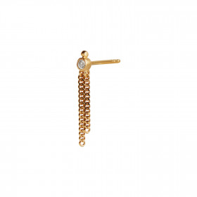 Big Dot Earring Gold with Two Chains