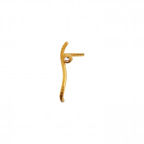 Petit Dot Wave Earring Gold with Champagne Stone