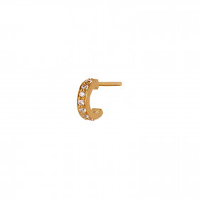 Tres Petit Creol with White Stones Earring Gold