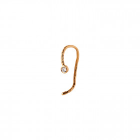 Wavy One Dot Open Creol Gold with Stone - White