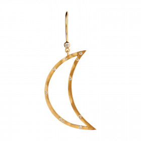 Big Bella Moon with Stones Earring Gold