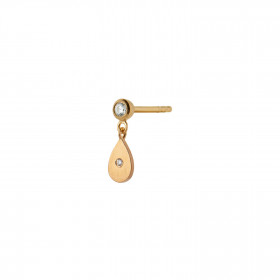 Big Dot with Sparkling Teardrop Earring Gold