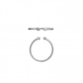 Open Two Dots Ring Silver