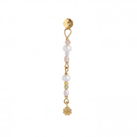 Petit Stones And Clover Behind Ear Earring - White and Soft Nude Pearls