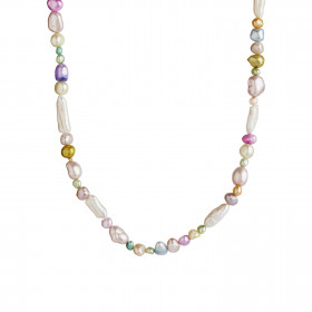 Baroque Pearl Necklace - Soft Vanilla and Bubblegum