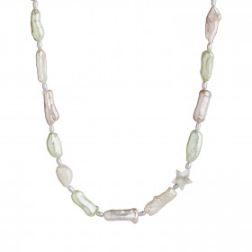 Baroque Pearl Necklace with Pink, Beige & Mint Green Mix