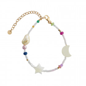 White Midnight Bracelet with Moon, Star and Multicolor Stones