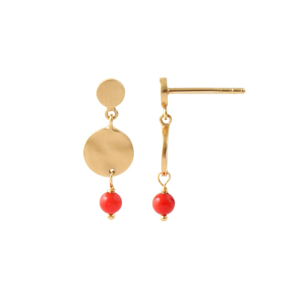 Petit Hammered Coin and Stone - Red Coral