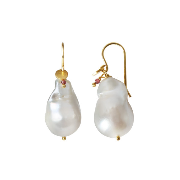Baroque Pearl Earring with Gemstone