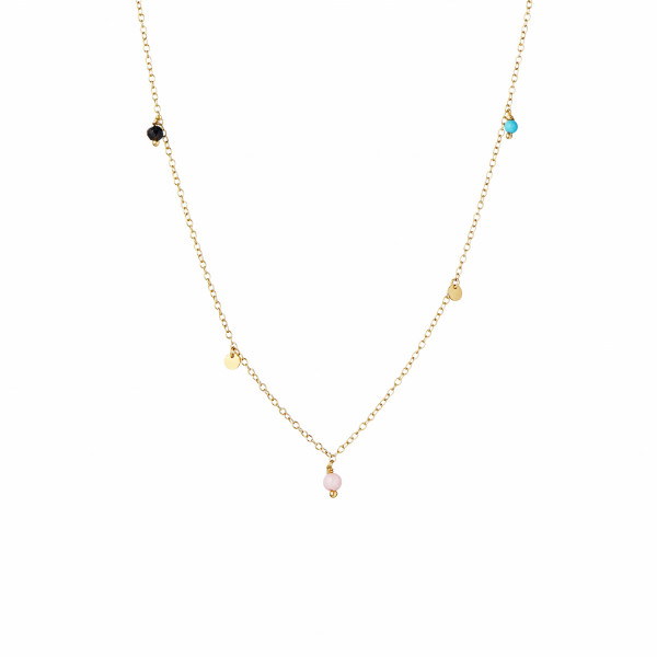 Petit Coin And Gem Stones - Black Spinel, Coral and Turquoise Necklace