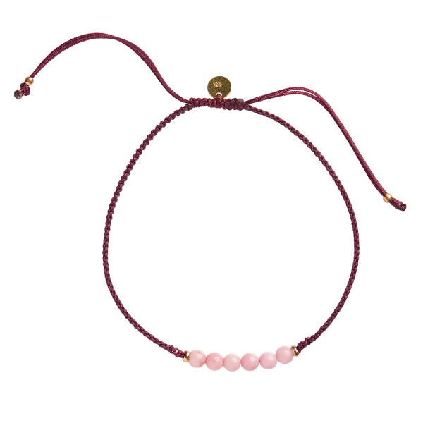 Candy Bracelet - Coral and Dark Bordeaux Ribbon
