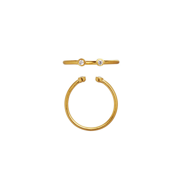 Open Two Dots Ring Gold