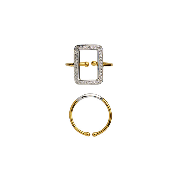 Vintage Square Ring W/Zircons Gold-Silver