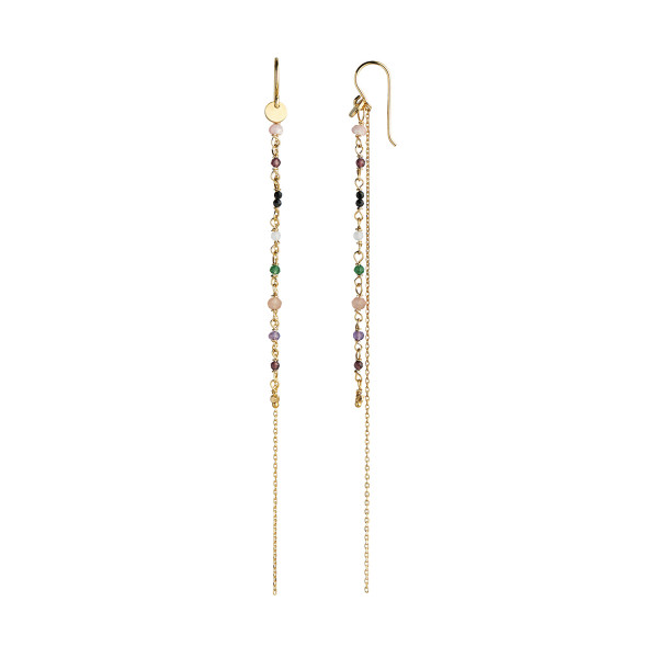 Petit Gemstones with Long Chain Earring - Forrest Mix
