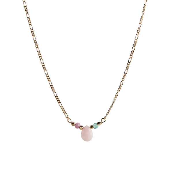 Candy Drop Necklace with Pink Opal, Green Jade and Pink Turmalin