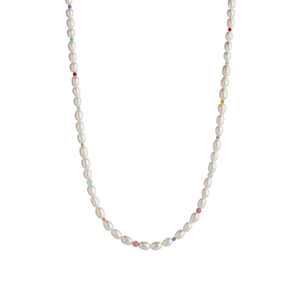 White Pearls and Candy Stones Necklace Gold