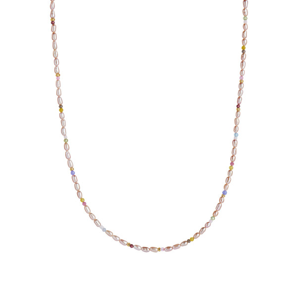 Confetti Pearl Necklace with Beige and Pastel Mix Gold