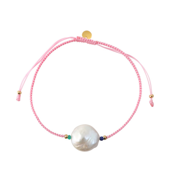 White Pearl and Stone Bracelet with Light Pink Ribbon