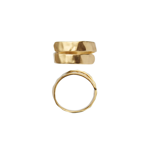 Hammered Open Ring Gold