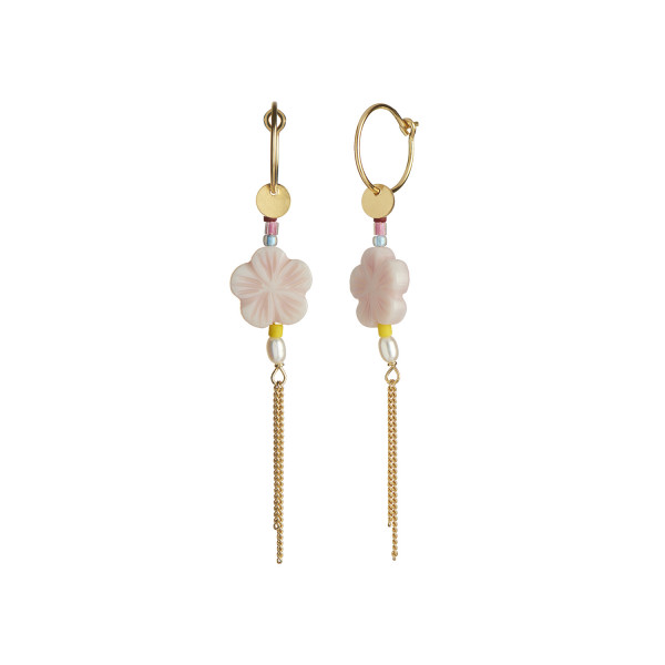 Pink Cherry Blossom Earring Gold with Chains