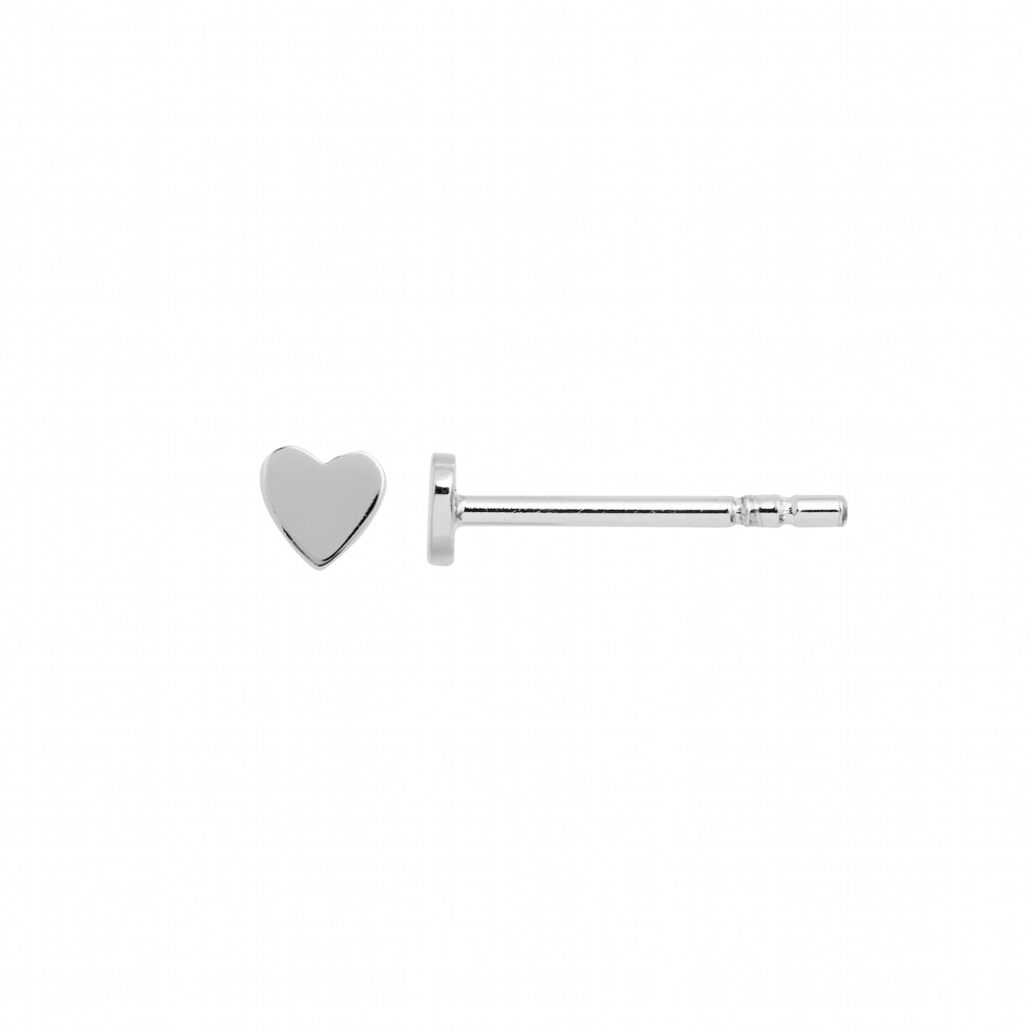 Petit Love Heart Earring Piece Silver