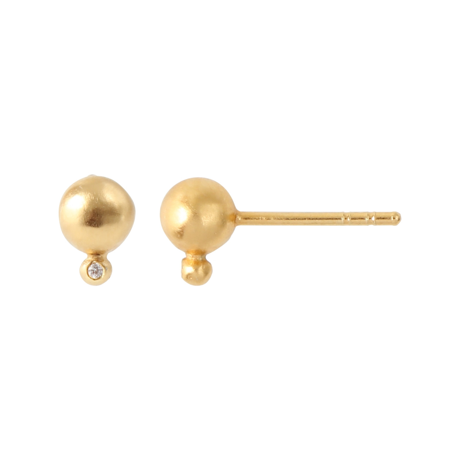Balloon with Zircon Earring Piece - Gold