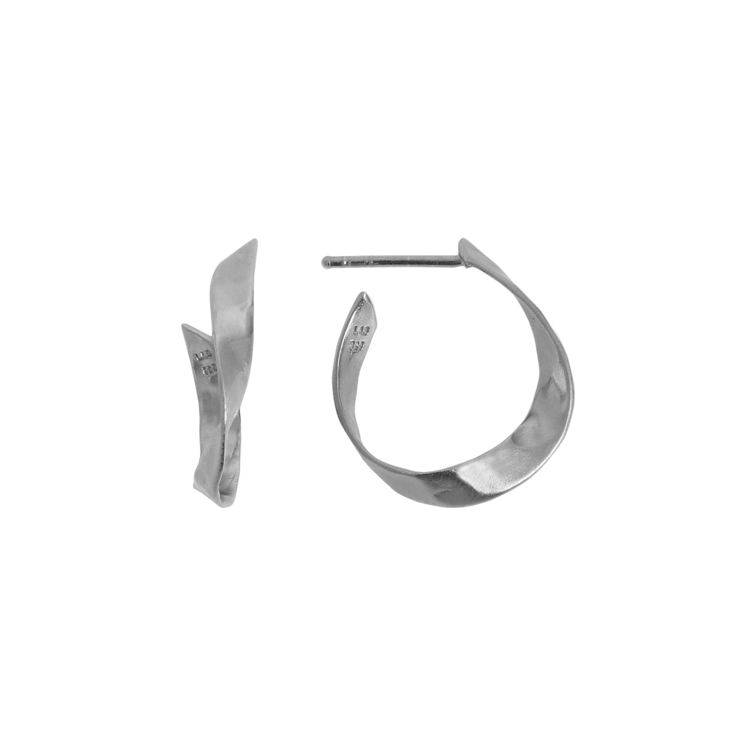 Twisted Hammered Creol Earring - Right Silver