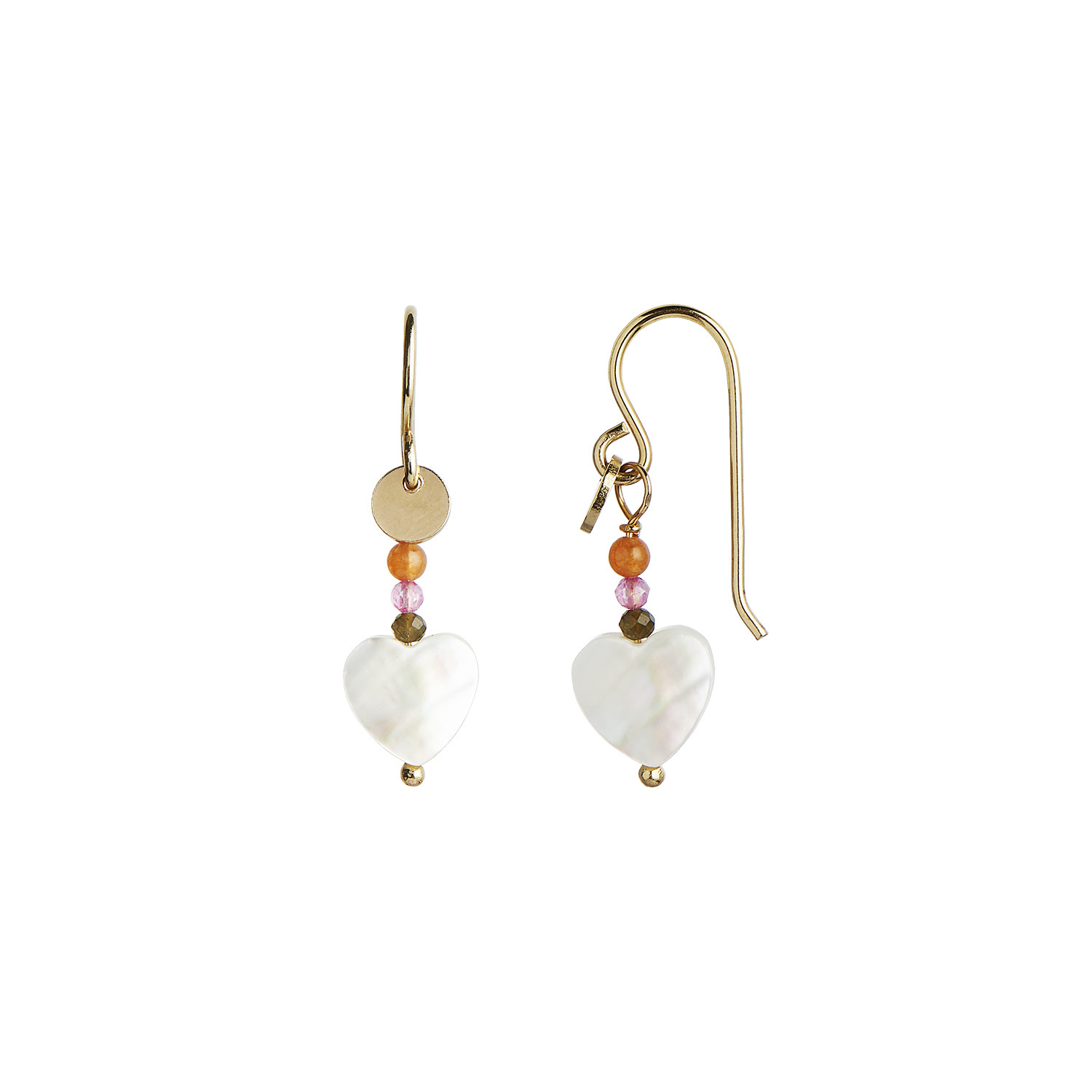 Love Heart Earring Gold with Gemstones - Pastel Coral Mix
