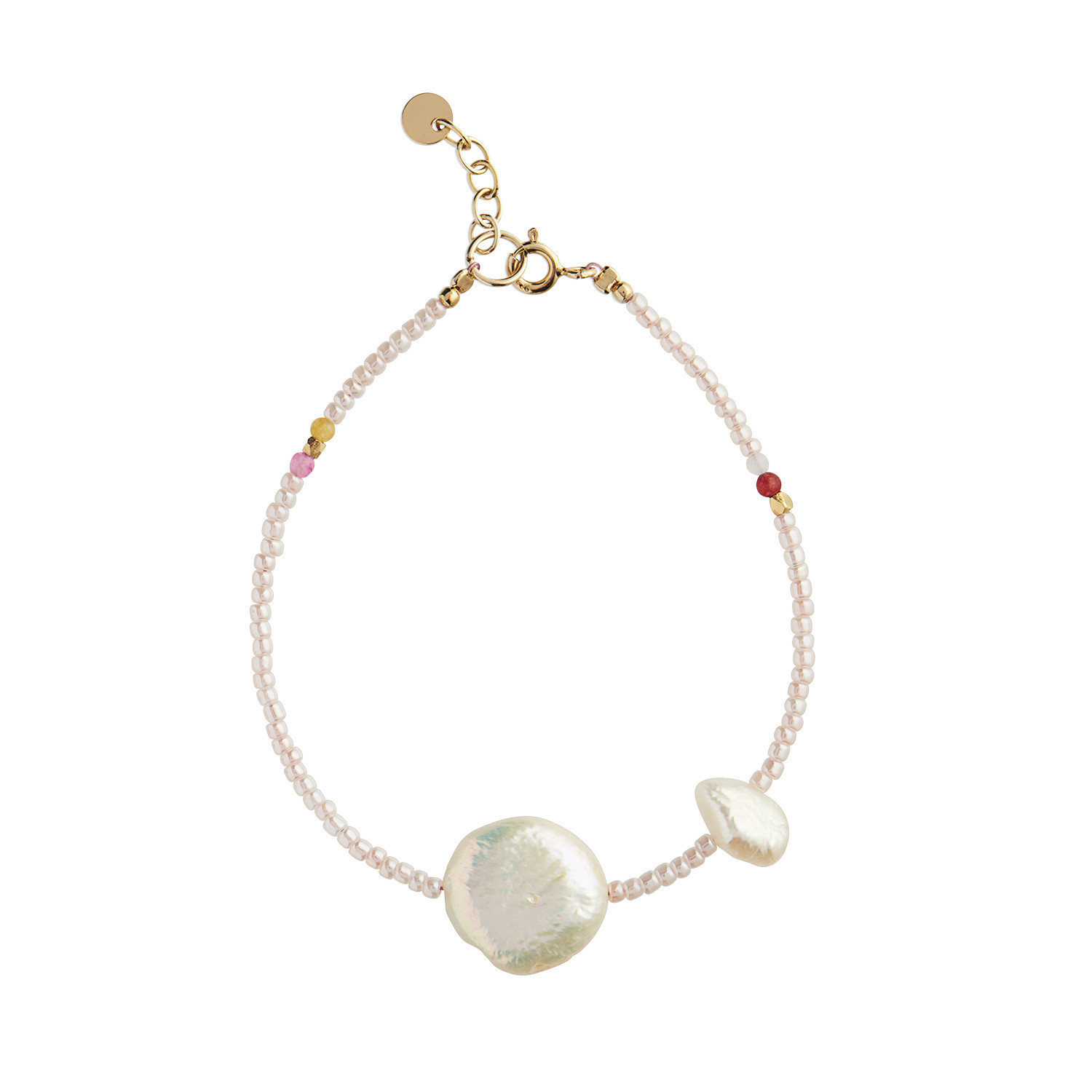 Vanilla Pearl Bracelet - Freshwater Pearls, Gemstones and Glass Beads Gold
