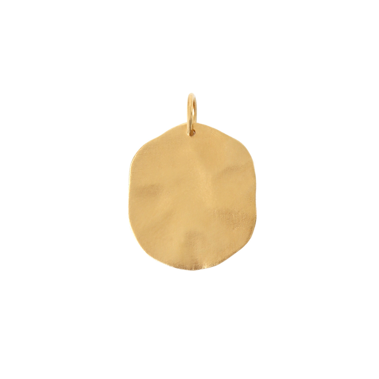 Big Hammered Coin Pendant Gold