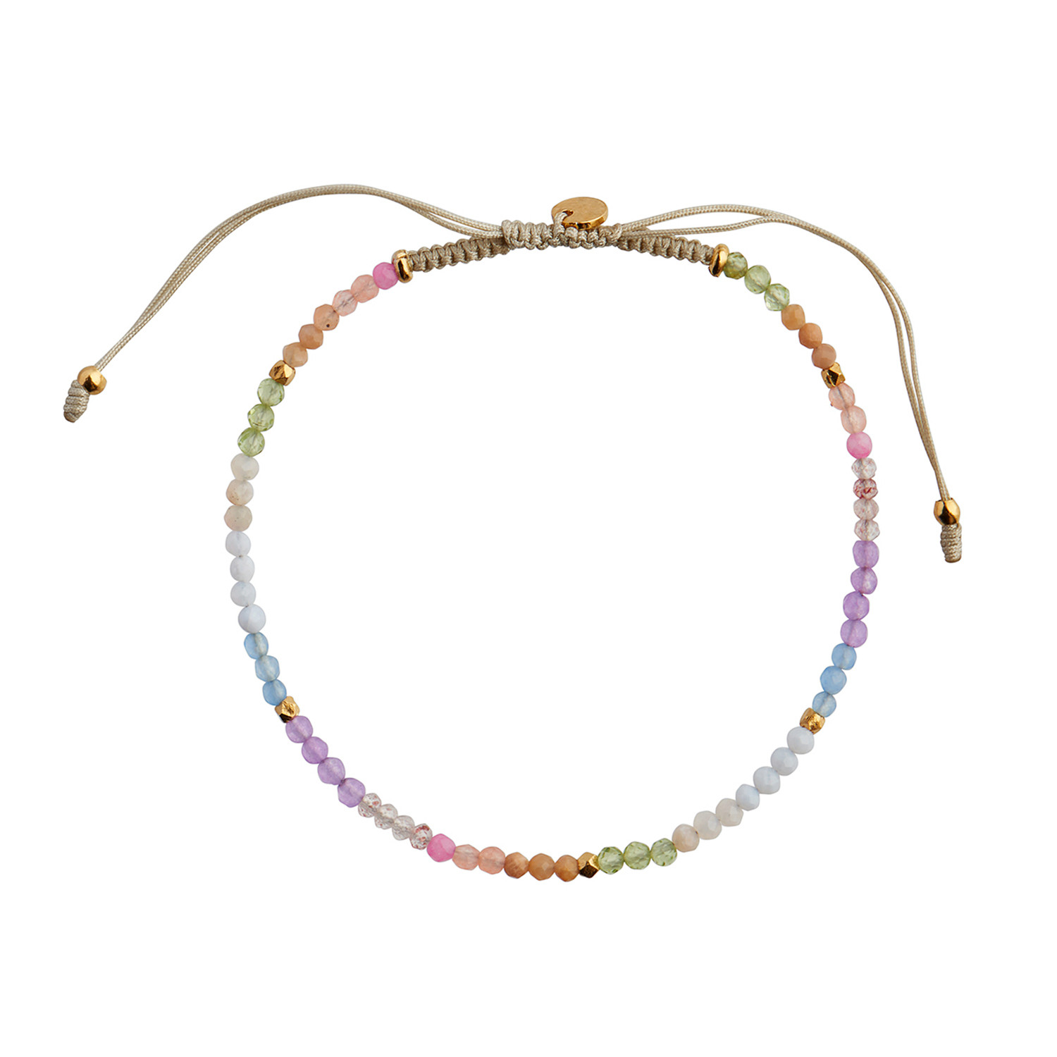 Soft Rainbow Mix with Sandy Grey Ribbon Bracelet